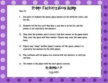 Prime Factorization Bump- 6.EE.1