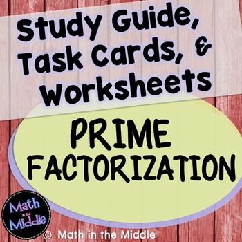 Prime Factorization Task Card and Worksheet Set