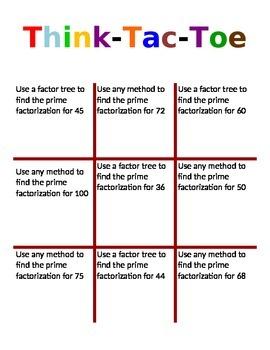 Prime Factorization Think Tac Toe