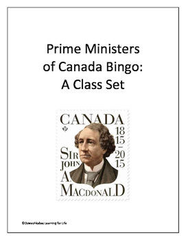 Prime Ministers of Canada Bingo (Class Set)