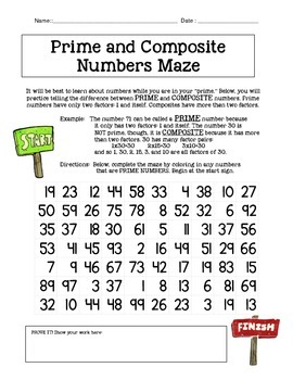Prime and Composite Number Maze (Activity or Homework)
