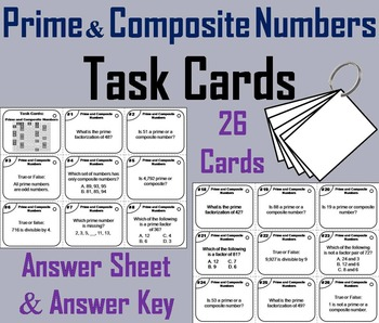 Prime and Composite Numbers Task Cards Practice Activity -