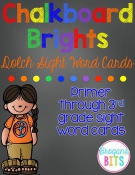 Primer - 3rd Grade Dolch Sight Word Cards {Chalkboard Brig