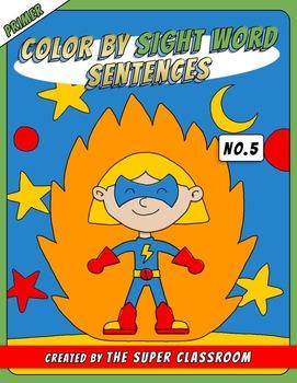 Primer: Color by Sight Word Sentences - 005