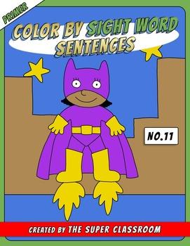 Primer: Color by Sight Word Sentences - 011