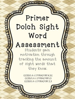 Primer Dolch Sight Word Assessments