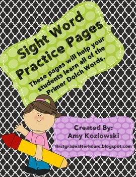 Primer Dolch Sight Word Practice Sheets