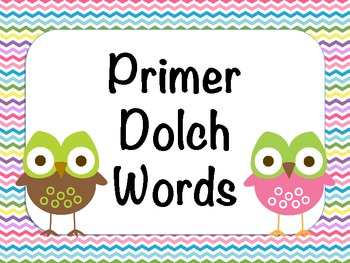 Primer Dolch Words - Owl Theme