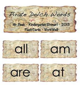 Primer (Kindergarten) Dolch Words Flashcards or Word Wall