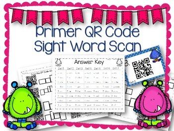 QR Code Literacy Center & Write the Room Activity: Primer
