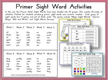 Primer Sight Word Activities