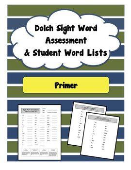 Primer (Pre-K / Kinder) Sight Word Assessment (Dolch)