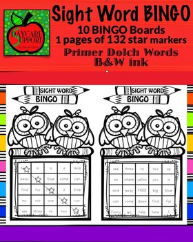 Primer Sight Word BINGO B&W ink (Daycare Support by Prisci