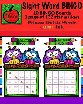 Primer Sight Word BINGO color ink (Daycare Support by Pris