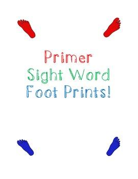 Primer Sight Word Foot Print Center Activity