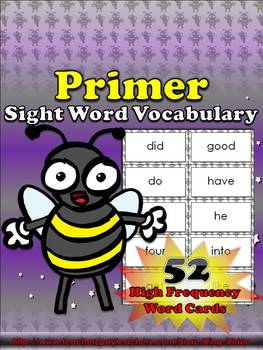 Primer Sight Word Vocabulary - 52 High Frequency Word Card