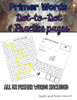 Primer Words: Dot-to-Dot Sheets and Practice Pages