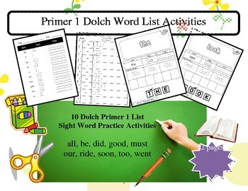 Primer jumbo dolch word lists  - 6 packets 10 words in eac