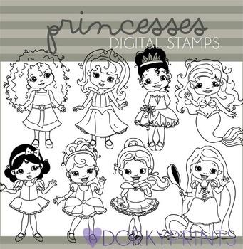 Princess Black Line Clip Art