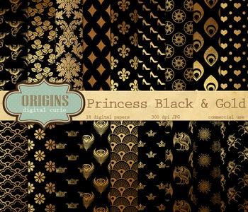 Princess Black and gold digital paper fantasy patterns bac