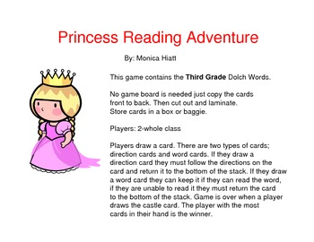 Princess Dolch Sight Word Game Third Grade