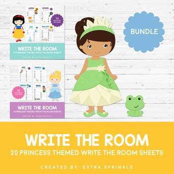 Disney Inspired Princess Write The Room Sheets Bundle