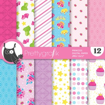 Princess digital paper, commercial use, scrapbook papers,