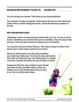 Principal's Resource: 2nd Grade Behavior Improvement: Disobey