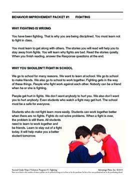 Principal's Resource: 2nd Grade Behavior Improvement: Fighting