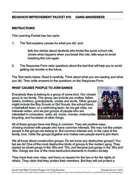 Principal's Resource: 4th Grade Behavior Improvement: Gangs
