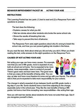 Principal's Resource: 5th Grade Behavior Improvement: ActAge