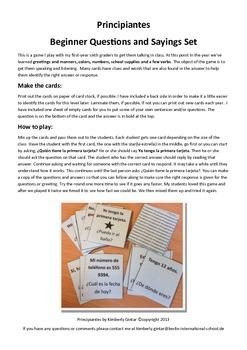Principiantes-Beginner Spanish Talking Cards/Game