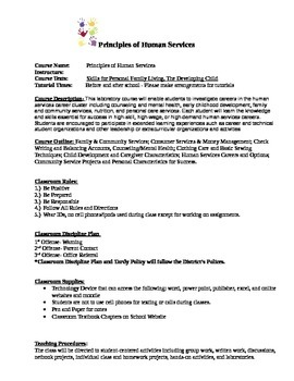 Principles of Human Services Syllabi