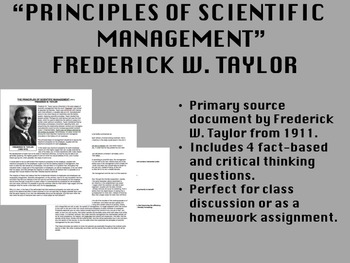 """Principles of Scientific Management"" - Frederick W. Taylo"