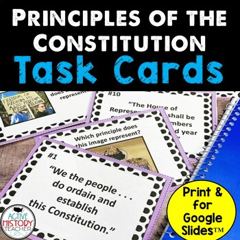 Principles of the Constitution Task Cards Activity - Modif