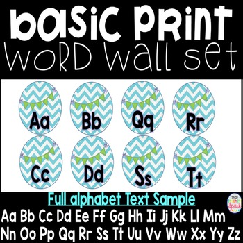 Chevron Alphabet Print Word Wall Labels