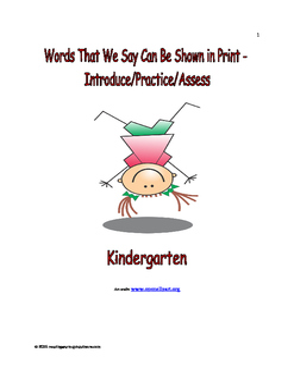 Print Concepts: Introduce/Practice/Assess - Kindergarten