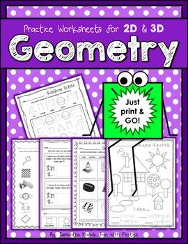 Print & Go! 2D & 3D Geometry Practice Worksheets