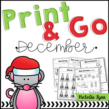 Print & Go December NO PREP Printables for Kindergarten