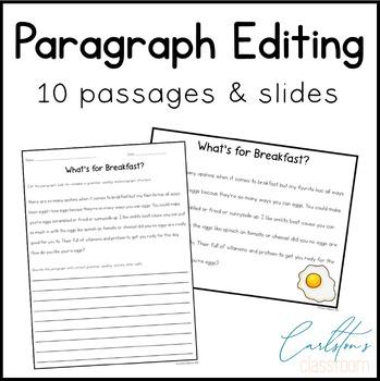 Print & Go Editing Paragraphs: 10 Passages for Grades 3-5