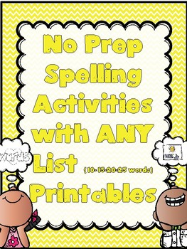 Print & Go  Spelling Pack-Activities FOR ANY WORD LIST