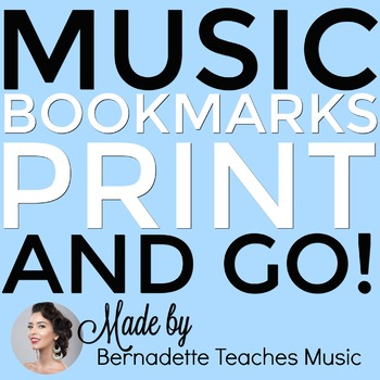 Print & Go Music Themed Bookmarks in Full Color and Black & White