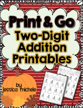 Print & Go Two-Digit Addition Printables {Autumn}