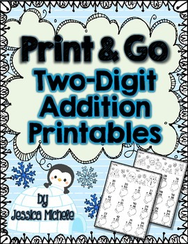 Print & Go Two-Digit Addition Printables {Winter}
