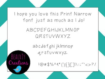 """""""Print Narrow"""" Font by BeauxTy Creations"""
