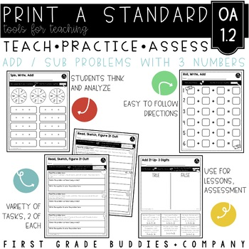 Print a Standard 1.OA.2 {Addition of 3 Numbers} No Prep Pack