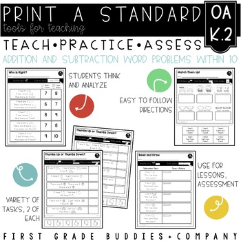 Print a Standard K.OA.2 {Addition and Subtraction Word Pro