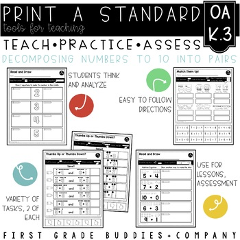 Print a Standard K.OA.3 {Decomposing Numbers Into Pairs} No Prep