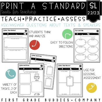 Print a Standard SL 2.2 & 2.3 {Ask, Answer Questions: Oral