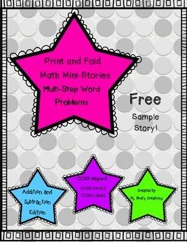 Print and Fold Multi-Step Word Problem Math Mini-Story Freebie